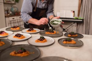 Plating food at a Dinner Party